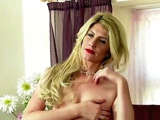 Blonde Mummy Fuckslut Taunting And Playing With Honeypot In The Bedroom In Retro Underwear Nylons And Stilettos
